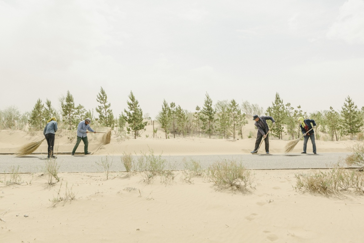 Workers clearing desert sand f the roads in Kubuqi Desert Park. Kubuqi Desert is the seventh largest desert in China. It lies to the north of Ordos Plateau in Inner Mongolia, covering 18,600 square kilometres. The desert was one of the three major sources of sandstorms that would engulf the Beijing, Tianjin and Hebei areas. Many communities in Kubuqi lacked access to basic public services like schools, hospitals, electricity and roads. The desert was locally known as the 'Dune of Death'. Today Kubuqi has been transformed into a scene of greenery, home to around 100 species of plants and wild animals. Far from being a degraded 'Dune of Death', Kubuqi  Desert Park itself now attracts 200,000 visitors annually. This spectacular change was driven by the vision of self-made industrial billionaire and locally- born Mr Wang Wenbiao, then a salt factory manager in Kubuqi. He established Elion Resources Group in 1988, a diversified company that deals in desertification prevention and control, coal exploitation, clean energy, and natural pharmaceutical industries.